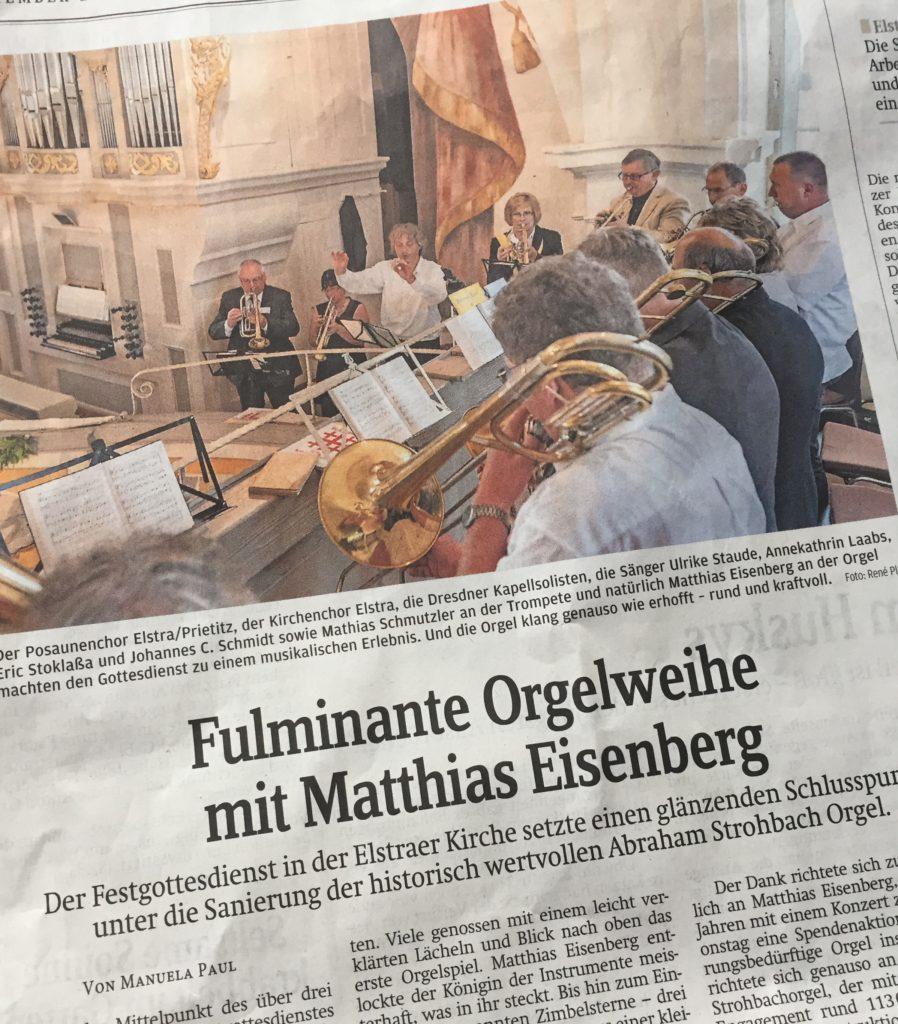 SZ am20.09.2016: Fulminante Orgelweihe mit Matthias Eisenberg